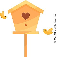 Yellow Cartoon birdhouse on a white background with two...
