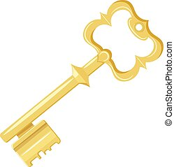 Vector illustration of vintage gold key on a white...