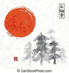 Forest trees ammd red sun hand drawn with ink - Forest trees...