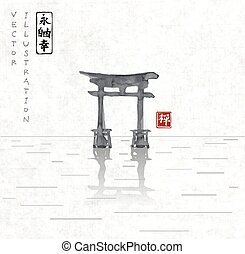 Torii gates hand-drawn with ink in traditional Japanese...