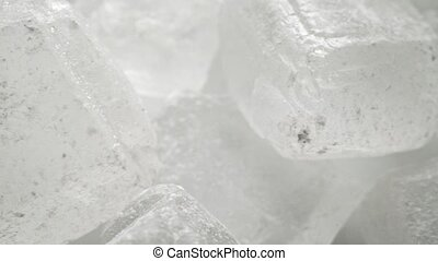 White sugar crystals, macro dolly video clip