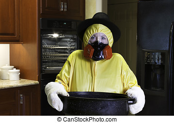 Thanksgiving Dinner Disaster with HazMat Suit - Woman in...