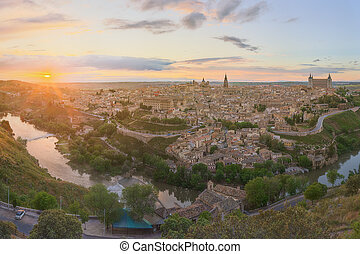 Panoramic view of ancient city and Alcazar on a hill over...