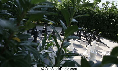 outdoor big chess in the garden - Outdoor big chess in the...
