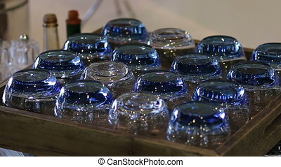 Glass for water on wooden box in restaurant - Few Glass for...