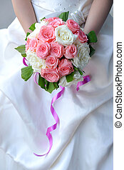 Bride\\\'s bouquet made of pink roses