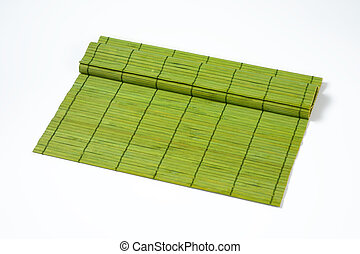 green bamboo tablemat - green bamboo place mat on white...
