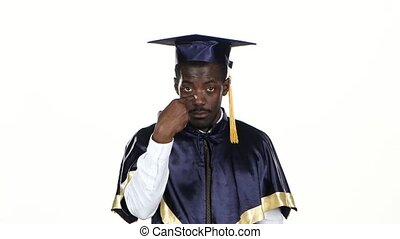 Graduate makes hand gestures White Close up - Graduate...