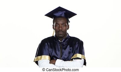 Graduate in the graduation form expresses refusal White...