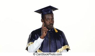 Graduate threatens with a finger. White. Close up - Graduate...