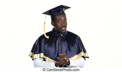 Man gives interviews. White. Close up - Graduate is...