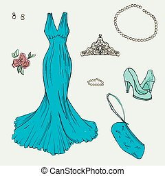 Fashion set. Illustration in hand drawing style. -...