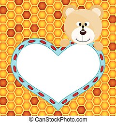Teddy bear with heart on honeycomb