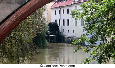 Waterwheel mill in Prague. Czech Republic. - Waterwheel mill...