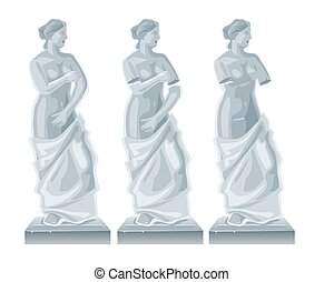 Sculpture Venus - goddess of love.Vector flat isolated illustration on white background