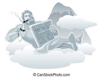 Zeus sitting on a cloud and lights a cigarette from...