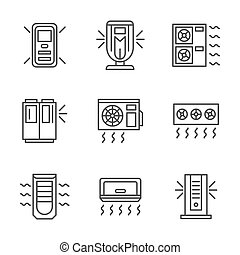 Air cleaning equipment black line vector icons set - Air...