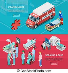 Two Isometric Hospital Horizontal Banners - Two isometric...