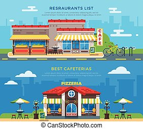 Best Cafeterias And Restaurants List Flat Banners - Best...