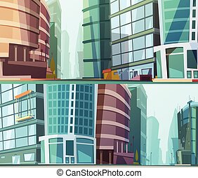 Modern Buildings Otdoor 2 Banners Set - Modern glass walls...