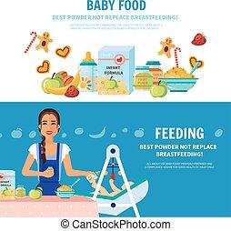 baby, mat, 2, lägenhet, Baner,