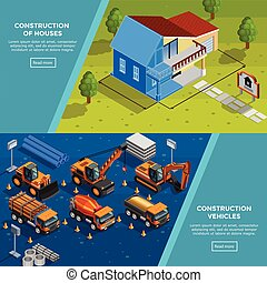 Construction Vehicles Isometric Banners - Two construction...