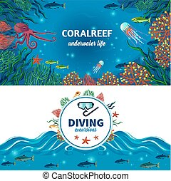 Sea Underwater Life Horizontal Banners - Sea life horizontal...