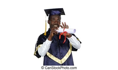 Man with graduation gown and diplom White - Man with...