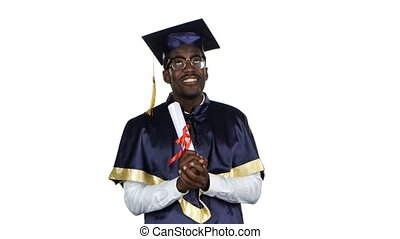 College graduate Student with diploma White - Happy black...