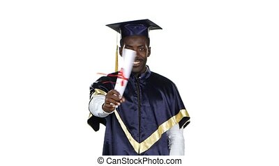 Graduate with a diploma wrapped in a ribbon. White -...