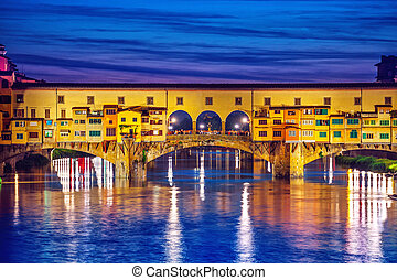 Late sunset at bridge ponte vecchio in florence old town on...
