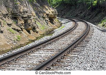 Curving Rails - Railroad track curve around a bend in rural...