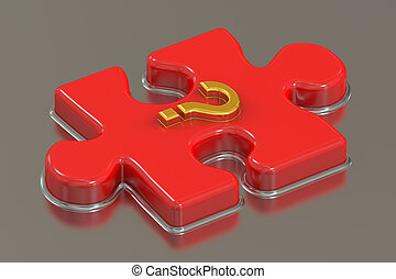 Question mark puzzle, 3D rendering