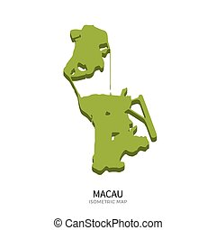 Isometric map of Macau detailed vector illustration....