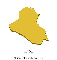 Isometric map of Iraq detailed vector illustration. Isolated...