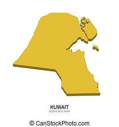 Isometric map of Kuwait detailed vector illustration....