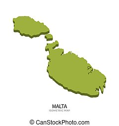 Isometric map of Malta detailed vector illustration....