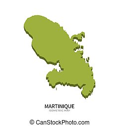 Isometric map of Martinique detailed vector illustration....