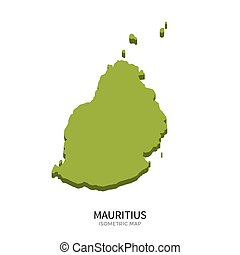 Isometric map of Mauritius detailed vector illustration...