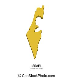 Isometric map of Israel detailed vector illustration....