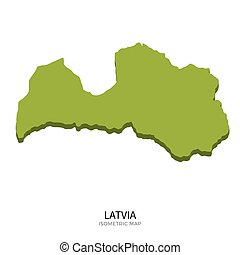 Isometric map of Latvia detailed vector illustration....