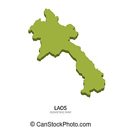 Isometric map of Laos detailed vector illustration. Isolated...