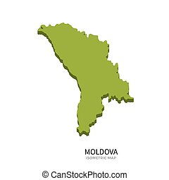 Isometric map of Moldova detailed vector illustration...