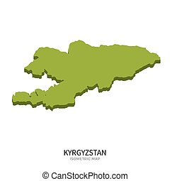 Isometric map of Kyrgyzstan detailed vector illustration...