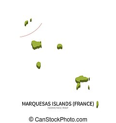 Isometric map of Marquesas Islands detailed vector...