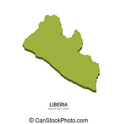 Isometric map of Liberia detailed vector illustration...