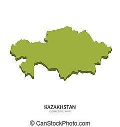 Isometric map of Kazakhstan detailed vector illustration....