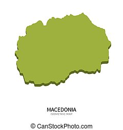 Isometric map of Macedonia detailed vector illustration....