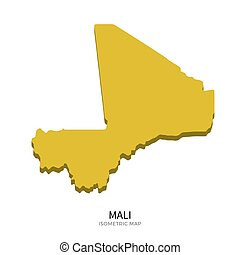 Isometric map of Mali detailed vector illustration. Isolated...