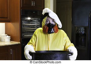 Kitchen disaster with HazMat suit - Mature woman wearing a...